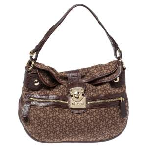 Dkny Brown Signature Canvas and Leather Hobo