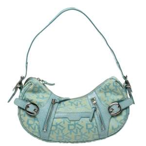 Dkny Blue/Yellow Monogram Canvas and Lizard Embossed Leather Hobo