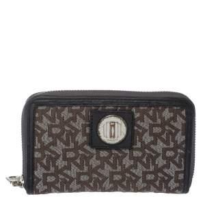 Dkny Brown/Black Monogram Canvas and Leather Zip Around Wallet