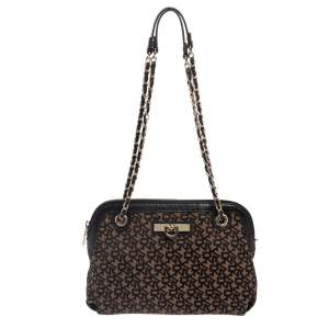 DKNY Black/Brown Signature Canvas and Leather Chain Shoulder Bag