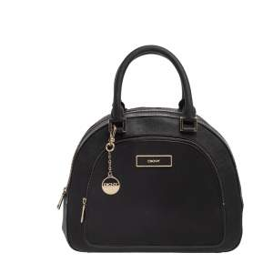 DKNY Black Leather Front Pocket Dome Satchel