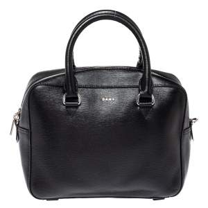 DKNY Black Leather Zip Satchel