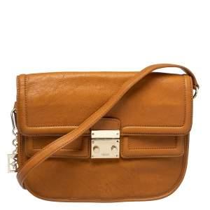 DKNY Tan Leather Push Lock Shoulder Bag