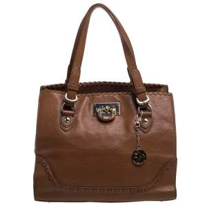Dkny Tan Leather Beekman French Whipstitch Trim Tote