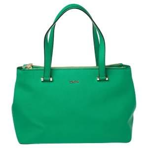 DKNY Green Leather Dona Karan Double Zip Tote