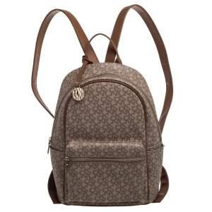 حقيبة ظهر دي كي إن واي كاسي كانفاس مقوى بني/بيج بالشعار وجلد