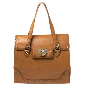 DKNY Tan Leather Whipstitch Flap Tote