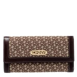 Dkny Beige/Brown Signature Canvas and Leather Wallet