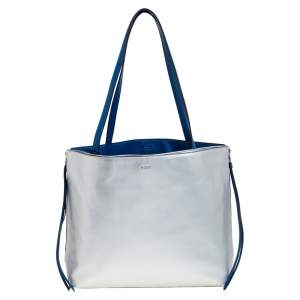 Dkny Silver/Blue Leather Side Zip Reversible Tote