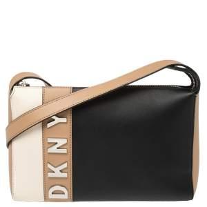 حقيبة كروس دي كي إن واي جلد ثلاثي اللون شعار معدني
