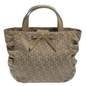 Dkny Pale Green/Beige Monogram Canvas and Lizard Embossed Bow Tote