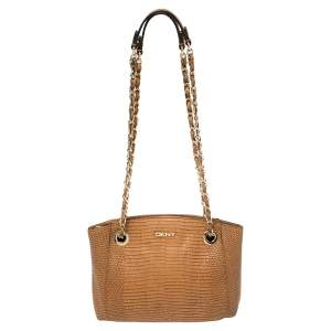 DKNY Brown Lizard Embossed Leather Chain Shoulder Bag