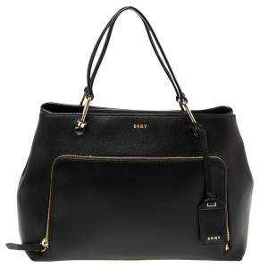 Dkny Black Saffiano Leather Bryant Park Front Pocket Satchel