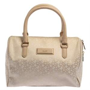 DKNY Beige Monogram Canvas Boston Bag