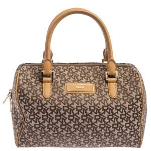 DKNY Beige/Tan Signature Canvas and Leather Boston Bag