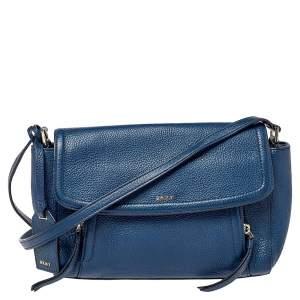 Dkny Blue Leather Flap Crossbody Bag
