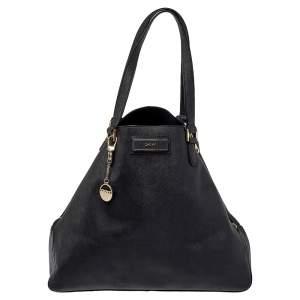 حقيبة يد دي كيه إن واي سحاب مزدوج جلد سافيانو أسود