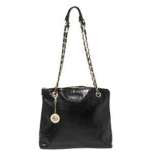 DKNY Black Leather Top Zip Chain Shoulder Bag