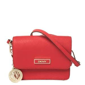 DKNY Red Saffiano Leather Micro Bryant Park Crossbody Bag