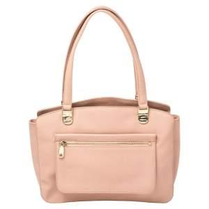 حقيبة يد دي كيه إن واي جلد مُحبب وردي
