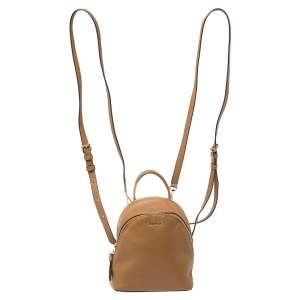DKNY Brown Leather Mini Greenwich Backpack