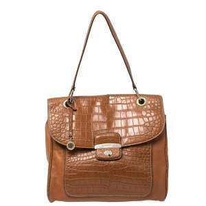 DKNY Brown Croc Embossed and Leather Turnlock Flap Top Handle Bag
