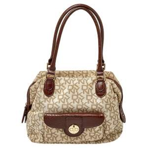 Dkny Beige/Brown Monogram Canvas and Croc Embossed Leather Turnlock Pocket Satchel