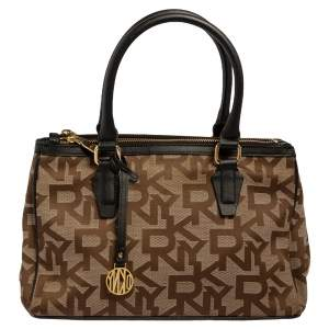 DKNY Monogram Canvas and Leather Double Zip Tote
