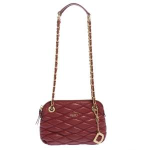 Dkny Red Quilted Leather Charm Chain Shoulder Bag