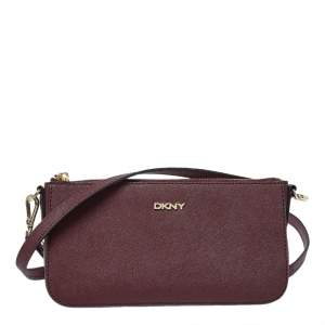Dkny Burgundy Leather Zip Crossbody Bag