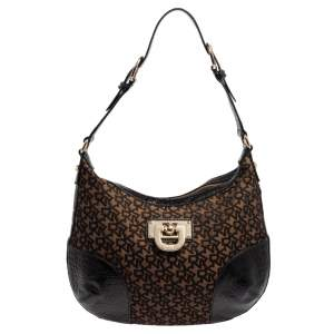 Dkny Brown/Black Signature Canvas and Leather Hobo