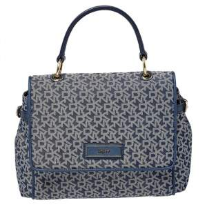 DKNY Blue/White Canvas and Leather Top Handle Bag