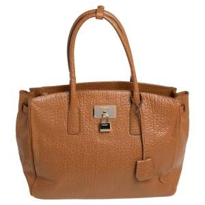DKNY Caramel Brown Pebbled Leather Padlock Tote