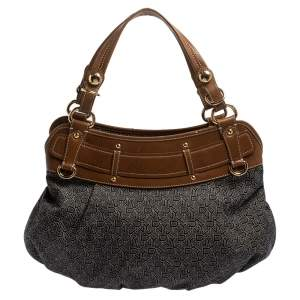 Dkny Navy Blue/Brown Monogram Canvas and Leather Hobo