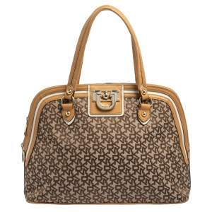 Dkny Brown/Beige Monogram Canvas and Leather Dome Satchel