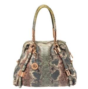 Dkny Multicolor Python Embossed Leather Satchel