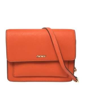 Dkny Orange Leather Flap Chain Crossbody Bag