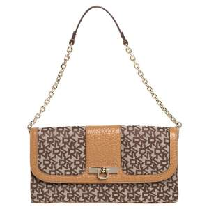 DKNY Brown/Beige Signature Canvas and Leather Chain Shoulder Bag
