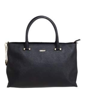 DKNY Black Saffiano Leather Bryant Park Zip Tote
