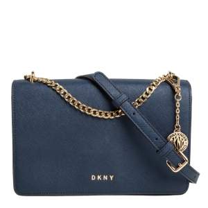 DKNY Blue Leather Flap Crossbody Bag