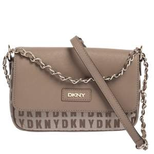 Dkny Dark Beige Monogram Canvas and Leather Logo Flap Chain Crossbody Bag
