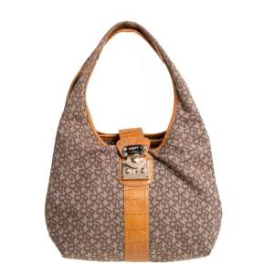 Dkny Beige/Brown Signature Canvas and Croc Embossed Leather Push Lock Hobo