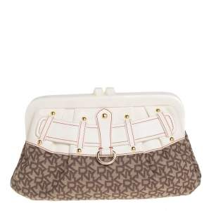 DKNY Beige/Brown Signature Canvas and Leather Kisslock Frame Clutch
