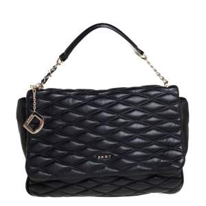 Dkny Black Quilted Leather Flap Shoulder Bag