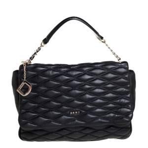 Dkny Black Quilted Leather Flap Shoulder Bag