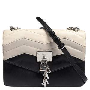 Dkny Black Leather Elissa Flap Crossbody Bag