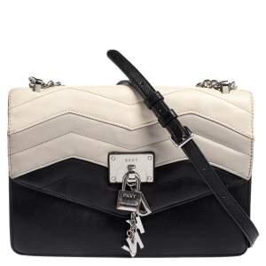 Dkny Black Leather Elissa Flap Crossbody Bag