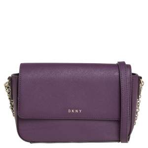 Dkny Purple Leather Flap Chain Shoulder Bag