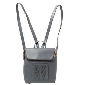 DKNY Grey Leather Tilly Stacked Logo Backpack