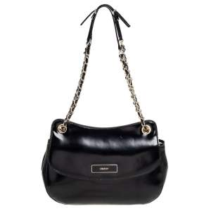 DKNY Black Faux Leather Flap Chain Shoulder Bag